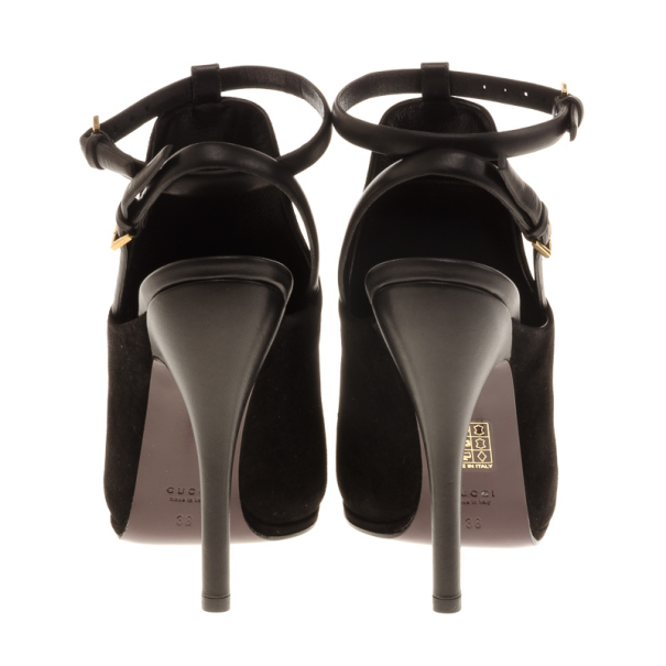 Gucci Black Leather And Suede Slingback Ankle Strap Sandals Size 38