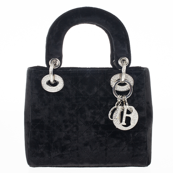 Dior Black Velvet Swarovski Crystals Micro Lady Dior Bag
