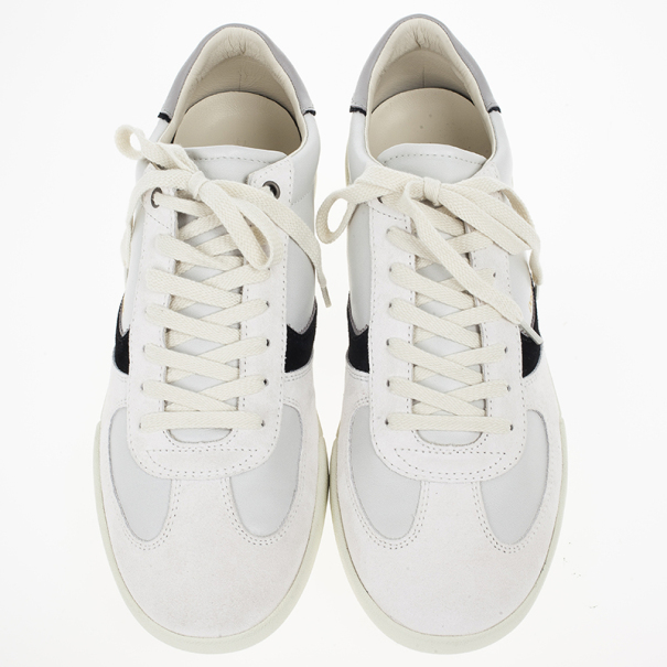Dolce and Gabbana White Suede and Leather Sneakers Size 44.5