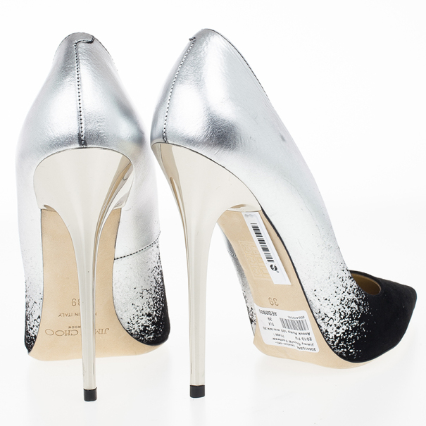 Jimmy Choo Degradé Metallic Leather and Suede Anouk Pumps Size 39
