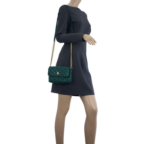 Marc Jacobs Green Quilted Leather Small Single Shoulder Bag