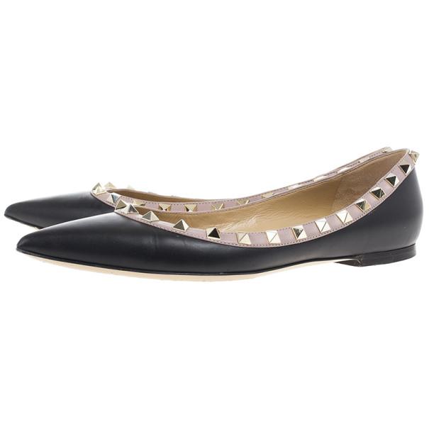 Valentino Black Leather Rockstud Flat Ballet Flats Size 38