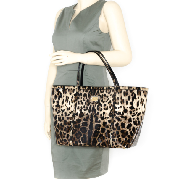 Dolce and Gabbana Leopard Print Animal Miss Escape Tote Bag