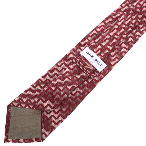 Giorgio Armani Red Wave Print Silk Tie