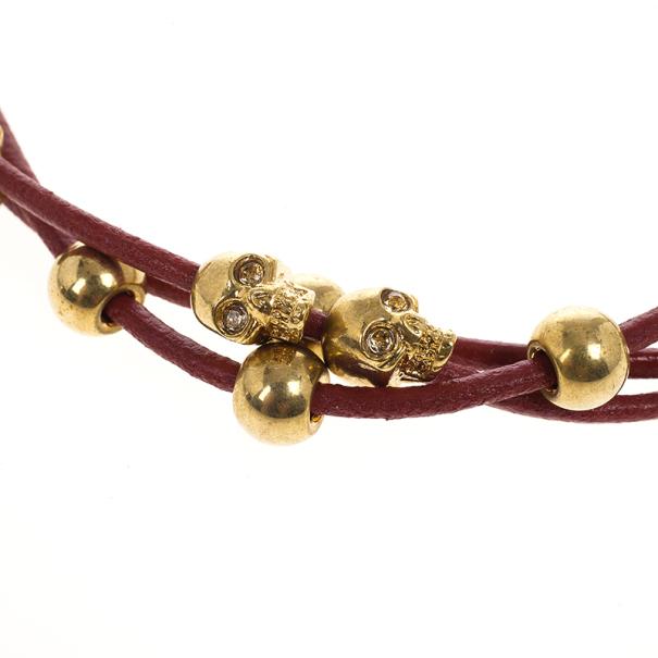 Alexander McQueen Multi Skull Leather Bracelet