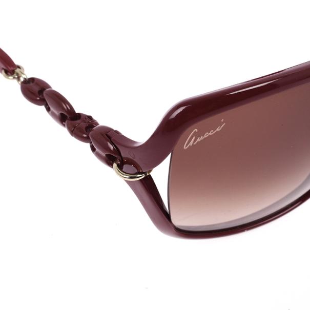 Gucci Red Chain Link Square Sunglasses