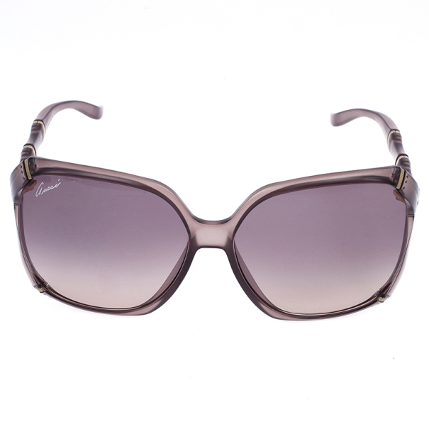 Gucci Brown Bamboo Effect Oversize Square Womens Sunglasses