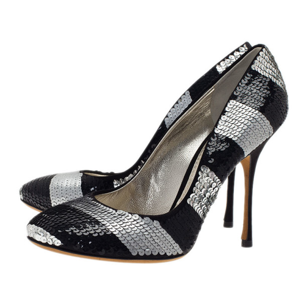 Dolce and Gabbana Black and Silver Sequin Pumps Size 39.5