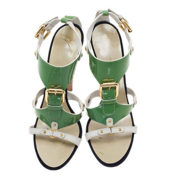 Giuseppe Zanotti Green and White Patent Leather Sandals Size 40