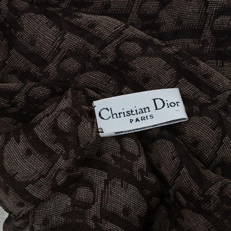 Dior Brown Silk Textured Monogram Stole