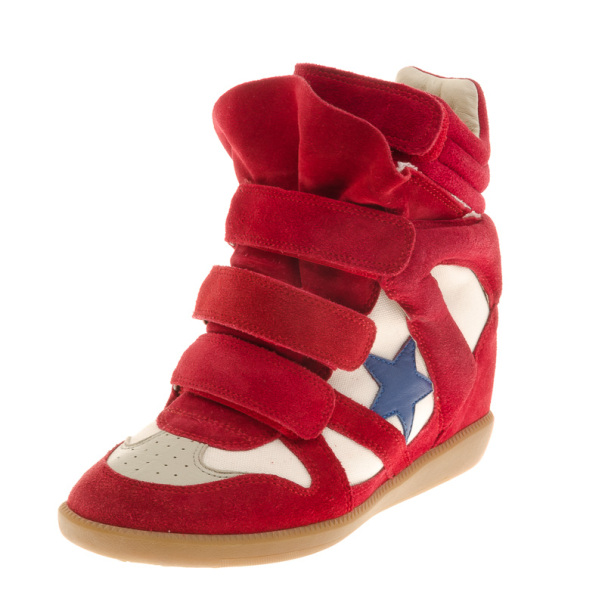 Isabel Marant Red Bayley Star Wedge Sneakers Size 36
