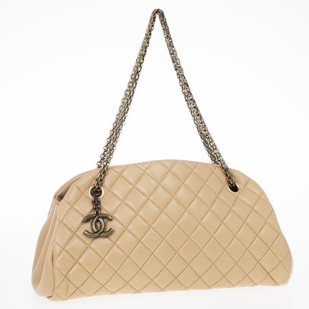 Chanel Beige Lambskin Mademoiselle Chain Tote