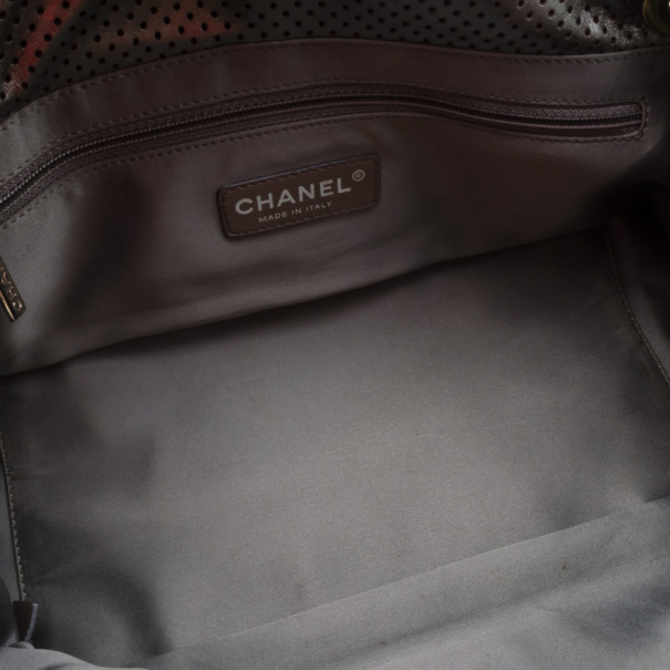 Chanel Metallic Drill Perforated Leather Classic Flap Accordion Bag