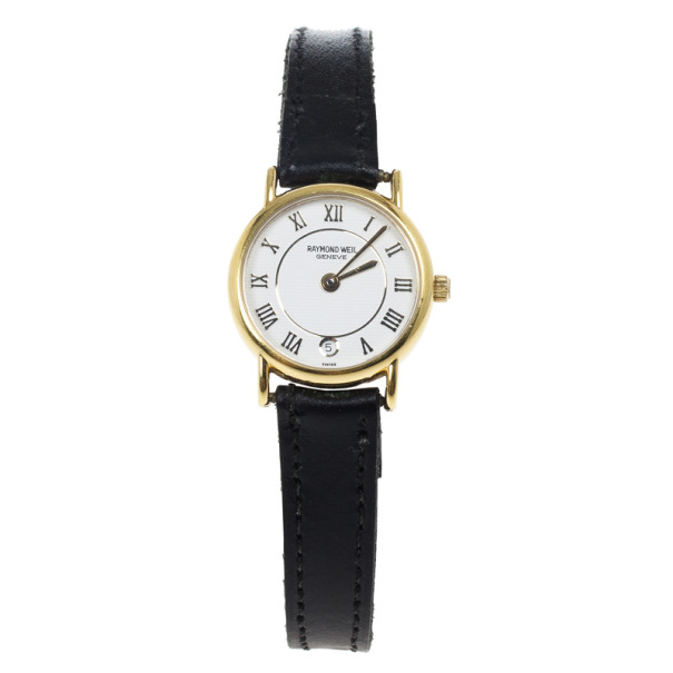 Raymond Weil White Gold-Plated Steel Leather Womens Wristwatch 20MM