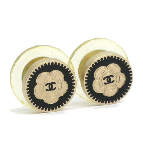 Chanel Camellia Pierce Black and Gold Tone Studs Earrings