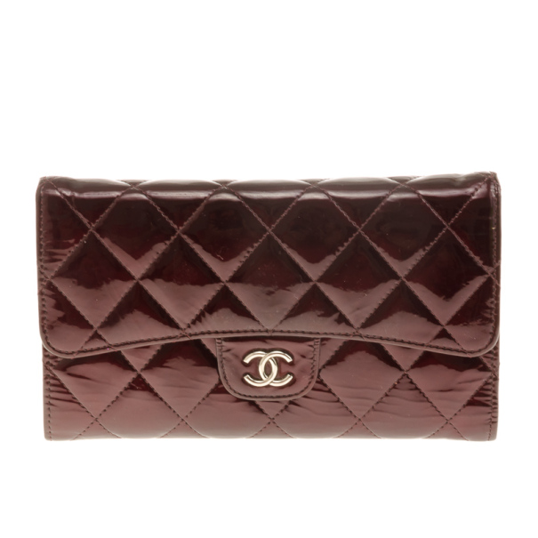 Chanel Dark Red Quilted Patent Classic Long Wallet