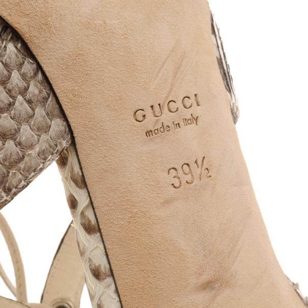 Gucci Python Lace Up Sandals Size 39.5