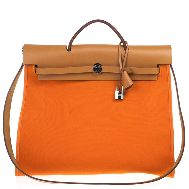Hermes Canvas and Leather Herbag Zip 39 Bag