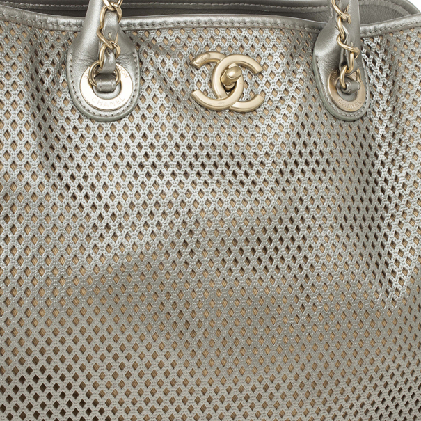 Chanel Silver Calfskin Perforated Leather Tote