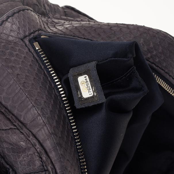 Chanel Grey Python Skin Shoulder Bag