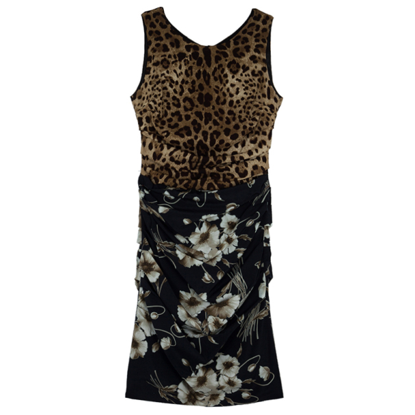 Dolce and Gabbana Mixed Print Stretch Dress M