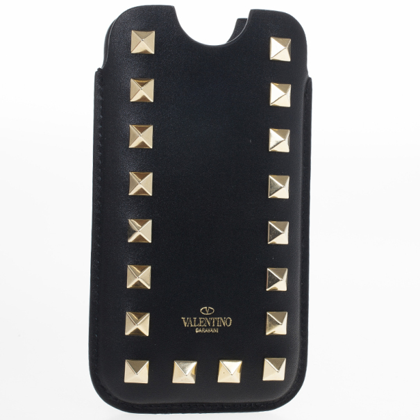 Valentino Black Leather Rockstud iPhone 5/5S Case