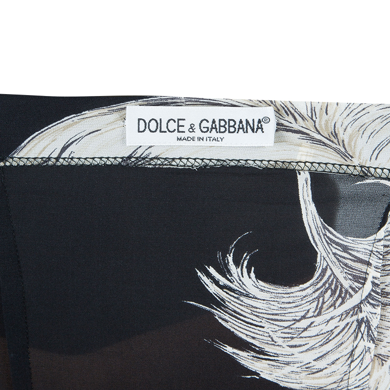 Dolce and Gabbana Feather Print Maxi Skirt S