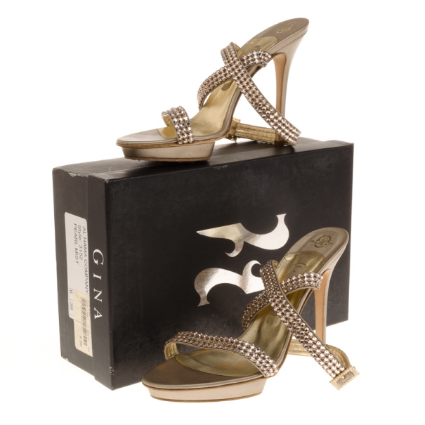 Gina Metallic Crystal Ankle Strap Sandals Size 39
