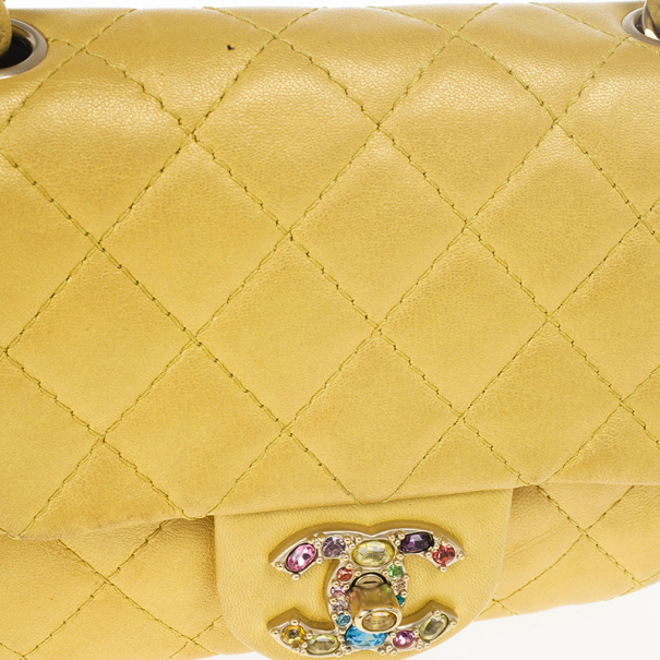 Chanel Yellow Lambskin Extra Mini Classic Flap Bag With Stones