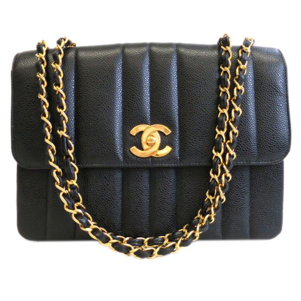 Chanel Black Caviar Vertical Quilt Mademoiselle Flap Bag
