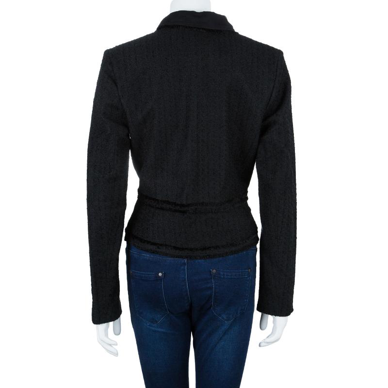 Carolina Herrera Black Ruffle Collar Blazer L