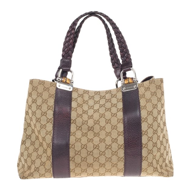 Gucci Beige/Ebony GG Canvas Bamboo Bar Medium Tote Bag