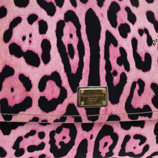 Dolce and Gabbana Pink Leopard Canvas Miss Sicily Satchel
