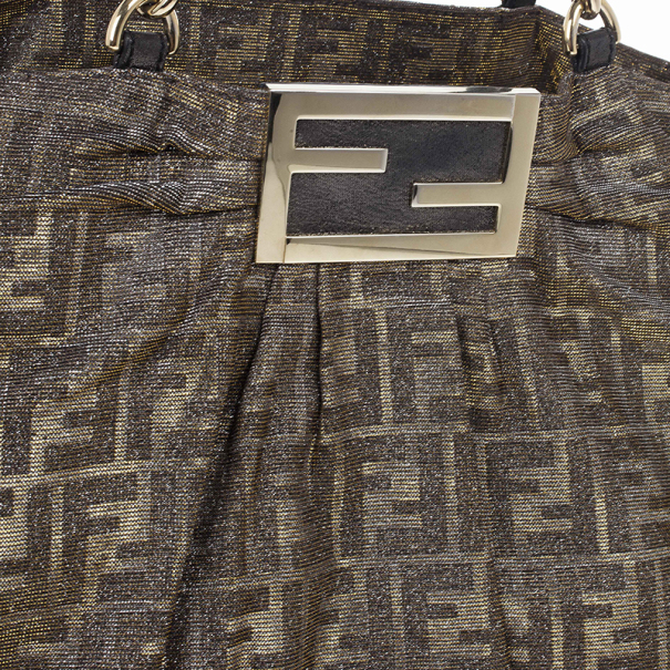 Fendi Gold Metallic Mia Zucca Shoulder Bag