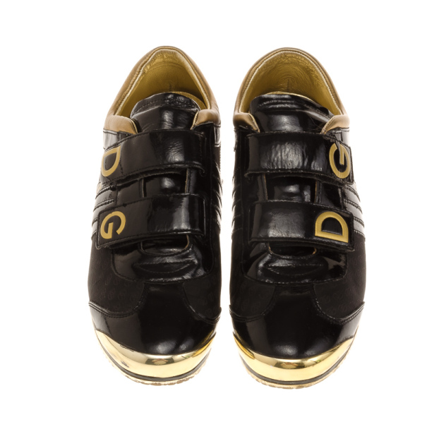 Dolce and Gabbana Black Patent Sneakers Size 42