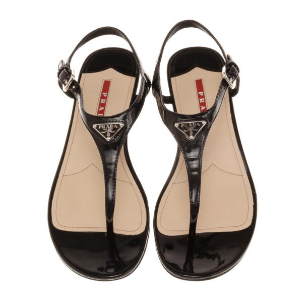 Prada Sport Black Patent Leather Bow Wedges Size 37.5