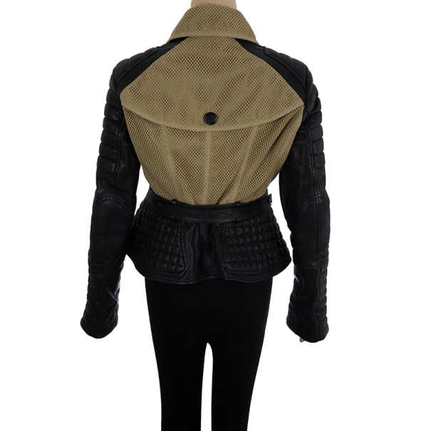 Burberry Leather Sleeve Cotton Crochet Jacket M