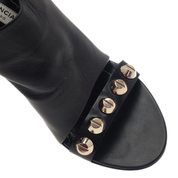 Balenciaga Black Leather Arena Studded Leather Mules Size 37