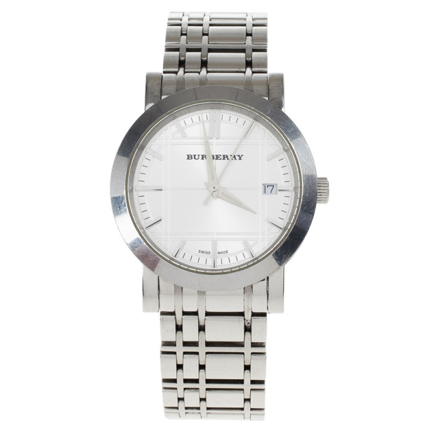 Burberry White Stainless Steel Women's Wristwatch 38 MM