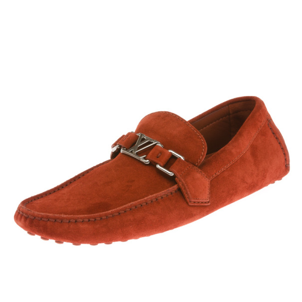 Louis Vuitton Brick Red Suede Hockenheim Loafers Size 41.5