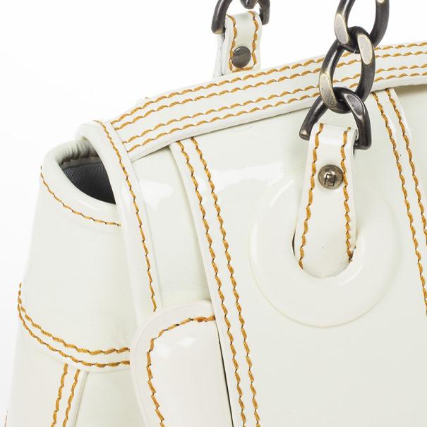 Fendi White Patent Leather B Bag