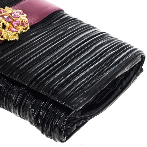 Miu Miu Matelassé Embellished Patent Leather Clutch