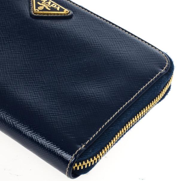 Prada Saffiano Triangle Leather Wallet