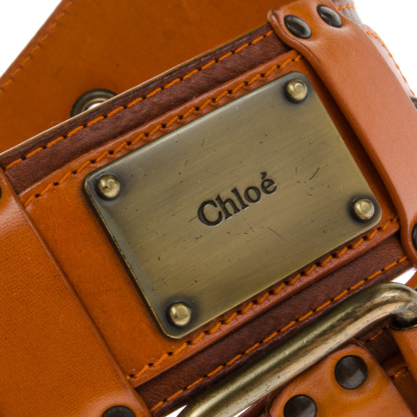 Chloe Brown and Orange Leather Belt 85 CM