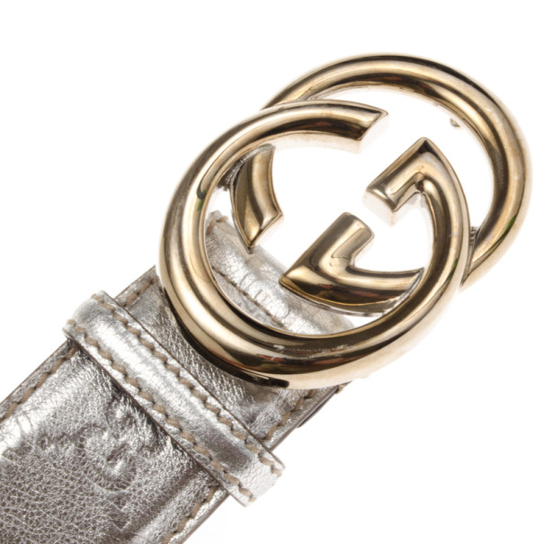 Gucci Silver Guccissima Leather GG Buckle Belt 100 CM