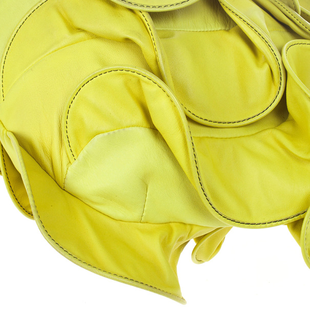 Valentino Yellow Nappa Rouches Hobo
