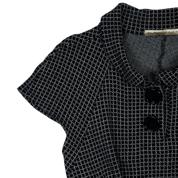 Balenciaga Monochrome Grid Print Dress M