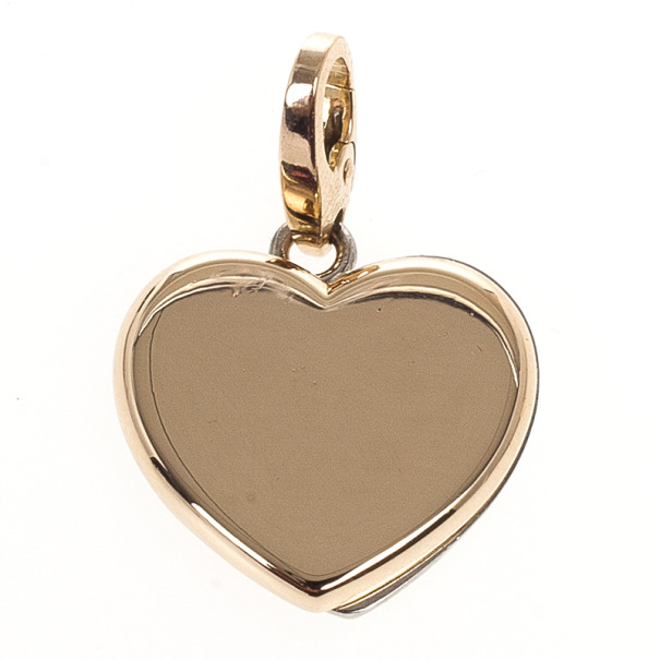 Cartier Double Heart Pink and White Gold Charm