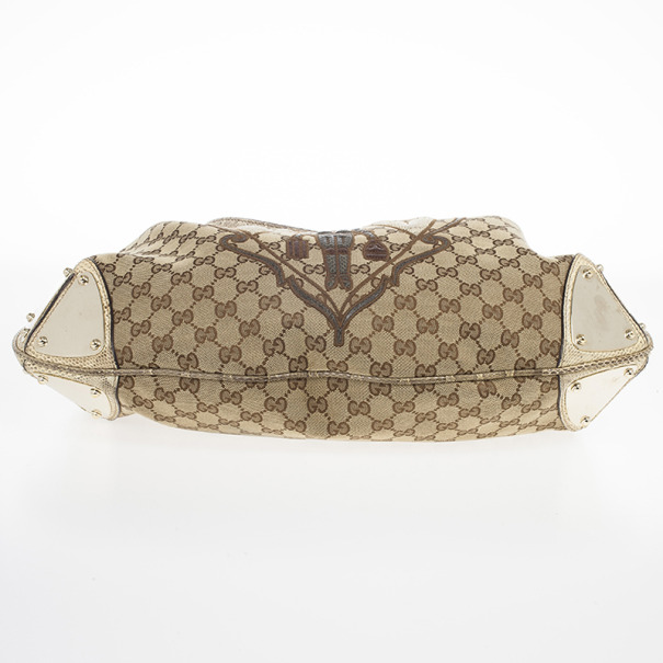 Gucci Limited Edition Beige GG Canvas Crest Patchwork Indy Top Handle Bag