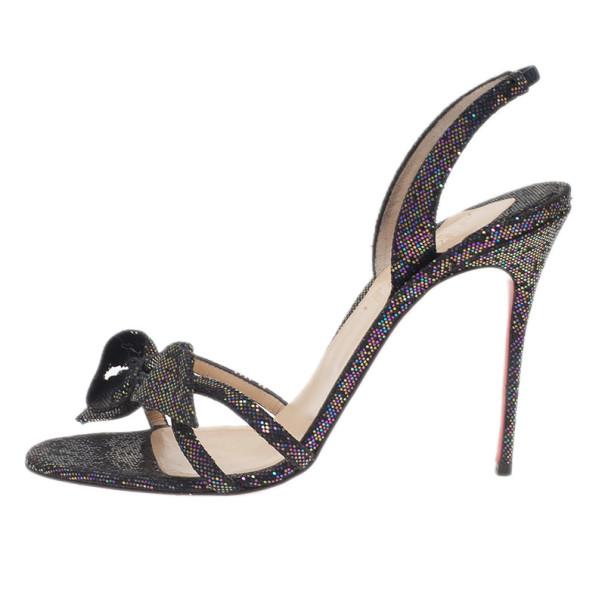 Christian Louboutin Black Grusanda Glitter Bow Sandals Size 40